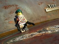 Rustarge (Legomania.) Tags: red black color green dark rust colorful lego fig tan mini damage ba minifig darkred 3100 minifigure darkgreen apoc darktan ppsh brickarms apocalego rustarge