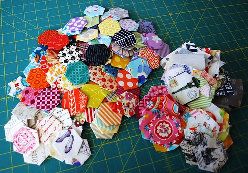 Newest pile of hexies.