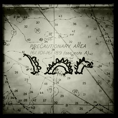 here there be... (Chris Blakeley) Tags: seattle dragon map seaserpent nauticalchart hipstamatic precautionaryarea