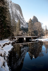 attracted to opposing poles (Super G) Tags: california snow mountains color reflection mirror yosemitenationalpark mercedriver cathedralrocks