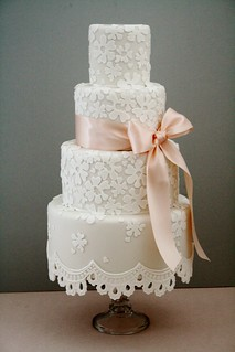 Lace fringe wedding cake by Cotton and Crumbs