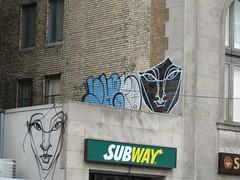 Graffiti in Toronto February 5 2013 (Meteor54) Tags: woman toronto face lady subway graffiti rom bloor yorkville secondcup bloorstreet
