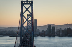 Traveling over the bay (f.ramirez01) Tags: bridge sunset cars bay san francisco day area