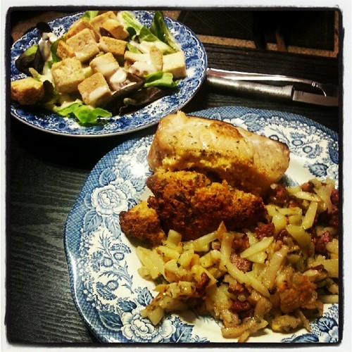 #crawfish cornbread stuffed pork chop with brabant #potatoes and salad