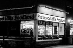 Foodland (Gamma-Ray Productions) Tags: blackandwhite canada monochrome night store ottawa nepean cornerstore foodland parkwoodhills