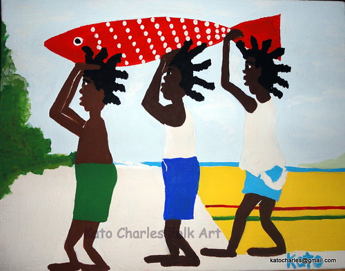 """Three Boys with Spotted Fish"", Acrylic on Canvas, 7"" x 9"" by Kato Charles"