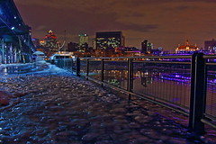 IMG_2433-4-5- VIEUX-PORT DE MONTRAL (BLnordik) Tags: winter reflection ice night port evening montral montreal hiver soir nuit glace rflexion