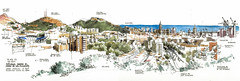 Mlaga, city center from North-West (Luis_Ruiz) Tags: city urban panorama de los spain cityscape drawing andalucia cerro andalusia dibujo malaga mlaga gibralfaro ngeles urbansketchers