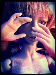 fears (___rei) Tags: blue light red dark hands doll dolls glow shadows fear gray redeye peek glowing bjd scared fx angela hiding filters scratched peeking abjd joints iphone discolored soojung darkelf grayskin iphonography withdoll march2013 pixlromatic withdollangela angeladarkelf march192013