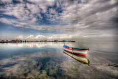 A boat (Nejdet Duzen) Tags: trip travel sea cloud reflection turkey trkiye deniz izmir bulut yansma turkei seyahat inciralt mygearandme