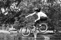 Wheels-n-Motion BMX team (alohadave) Tags: sky people effects blackwhite pond unitedstates massachusetts places northamerica amherst meetups partlycloudy umassamherst universityofmassachusettsamherst pentaxk5 bmxteam wheelsnmotion smcpda60250mmf4edifsdm 71stnecccconference necccconference2016