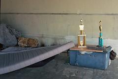Trophies (ADMurr) Tags: leica bridge camp lens la kodak homeless under 40mm trophies m6 belongings ektar rokkor