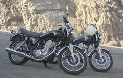 This year and last (wadetaylor) Tags: motorcycle sr400 yamaha cafe racer tracker scrambler pch pointmugu biltwell gringo helmet beach ocean shore coast