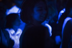 dancing in the dark... (f_lynx) Tags: sonya7 aisnikkor852 girl color club show music dance smile fun black lowkey shadows hair crowd concert uv moscow russia blue face 2x3 cricketcaptains