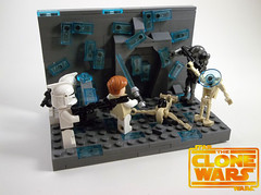 """Fall back to the heavy cannons!"" (legomaster1378) Tags: lego star wars the clone cristophsis battle scene vignette droid clones obiwan"