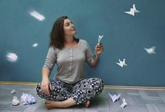 Failure (misa.stahlova) Tags: 365 365project selfportrait portrait indoor conceptual imaginative imagination surreal paper origami life success failure fineart blue girl me myself learning skills manipulation canon