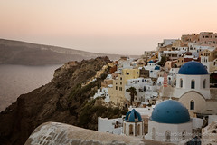 Sunset Over The Famous View of Oia, Santorini, Greece