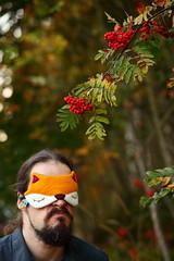 Sour... (Elektrojnis) Tags: fox rowan grapes sleepingmask faceblanket loom sour selfportrait mask