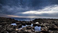 Something is brewing (Christophe Pfeilstcker) Tags: europe malta mediterian sea sky storm skyscape blue water reflection reflections xris74 pixpassion fuji xt1 wide