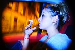07:13 PM (alex.thecat) Tags: light game strange car flash portraits cigarettes night girl