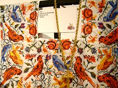 Punto de Cruz = Cross Stitch (mystuart) Tags: flowers art birds museum geotagged gold necklace dress cross embroidery yucatan craft jewelry exhibit merida museo tradition stitchery vestido 2012 bordado crossstich palaciocanton hipil puntadecruz mystuart
