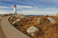 Pathway to Peggy's (sminky_pinky100 (In and Out)) Tags: travel winter red lighthouse white canada tourism landscape rocks novascotia landmark coastal peggyscove touristattraction peggyscovelighthouse omot cans2s masterclassexhibition masterclasselite thenewmasterclass