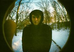 Austen (isabearrr) Tags: winter friends snow film minnesota lomo lomography woods minneapolis fisheye grainy