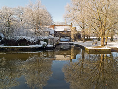 Pulls Ferry (Gerry Balding) Tags: trees winter england snow ice river cathedral norfolk spire norwich reflexions eastanglia pullsferry riverwensum thebestofday gnneniyisi