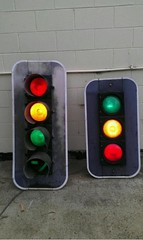 Weathered traffic lights (RS 1990) Tags: old red green lights amber ebay australian australia signals nsw lanterns newsouthwales weathered arrow trafffic