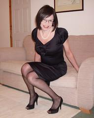 Bobble (Starrynowhere) Tags: black stockings glasses dress emma crossdressing tgirl transgender tranny transvestite heels transgendered crossdresser wiggle transvestism starrynowhere