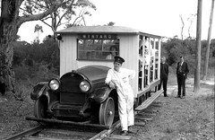 Sydney Tramway Museum (STM) Rail Motor Cadilac with Dennis O'Brien the driver and mechanic at the end of the tram track at the old site off the Princes Highway, Loftus, Sydney, N.S.W. Australia.