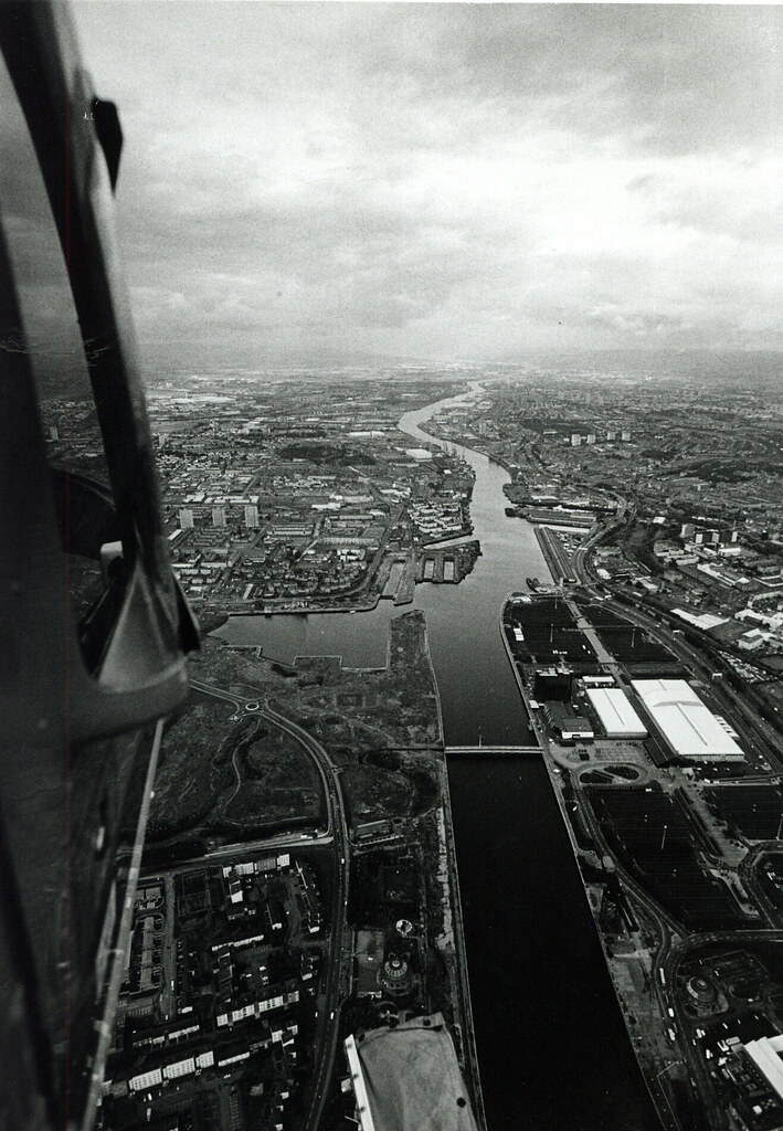 Aerial View Glasgow Looking down  the River Clyde  1990s
