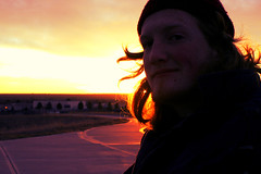 Nick at Sunrise Hill (arairigh) Tags: moon mountains sunrise colorado colorful purple