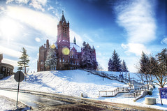 Syracuse University (Tony Shi Photos) Tags: new york winter orange snow ny cold building tower college architecture campus university state bell central sunny upstate cny syracuse su romanesque hdr cuse syr crouse    2013