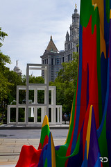 Civic Center (Raph/D) Tags: park new york city nyc newyorkcity blue red usa ny newyork building green art colors yellow statue modern america eos hall us purple squares manhattan south united fame landmark center 7d civic states catchy municipal
