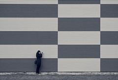 Connie on the Grid (JeffStewartPhotos) Tags: blackandwhite bw ontario canada wall blackwhite pattern photographer hamilton photowalk shooter connie toned gridwork torontophotowalk topw torontophotowalks cbchamilton topwham hammertownhike cbccahamilton