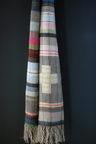 pale sky / + scarf, handwoven hemp and linen