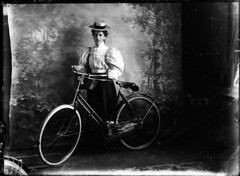 Victorain Woman with bike (Parsonago) Tags: old woman wet glass bike vintage studio real early ross basket witch oz wizard victorian plate negative cycle shire inverness