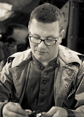 """I love the smell of gun oil in the morning"" (Jim Frazier) Tags: costumes portrait people blackandwhite bw heritage history monochrome sepia pose army glasses illinois clothing war funny eyecontact uniform gun cosplay military wwii humor posed historic il cleaning worldwarii portraiture ww2 historical guns characters desaturated uniforms february candids costuming reenactment caption stcharles worldwar weapons reenactors q3 worldwar2 roles saintcharles usarmy steampunk reenacting warfare oldified reenactments eyetoeye 2013 5000people reenactorfest militaryhistoryfest adifferentpersona wmembed ld2013 20130202reenactorfest"