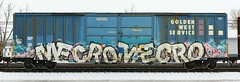 Mecro/Mecro (quiet-silence) Tags: railroad art train graffiti railcar sp boxcar graff freight cdc goldenwest fr8 endtoend mecro e2e sp247358