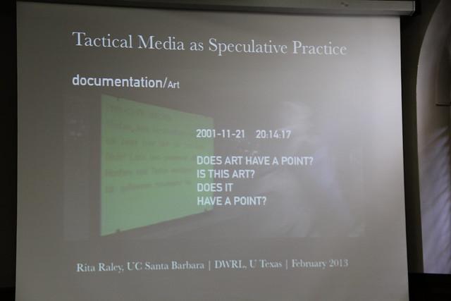 Rita Raley's title slide