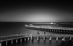 Aquatic Pier (tobyharriman) Tags: pictures sanfrancisco california longexposure blackandwhite seascape docks canon landscape photography blackwhite fineart bayarea aquaticpark peier bigstopper tobyharriman