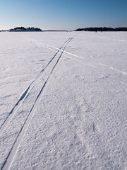 Tracks on ice (blaahhi) Tags: winter sea snow ice suomi helsinki tracks balticsea skitracks uusimaa panasoniclumixgh3 panasonicgxvario1235f28