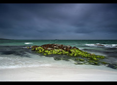 Berneray beach (SilverRainbow.) Tags: sea sky seaweed clouds scotland sand rocks waves northwest stormy westernisles hebrides berneray d90 northuist silverrainbow