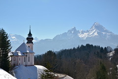 The baroque-rokoko church of Maria Gern in the Berchtesgaden region (echumachenco) Tags: schnee winter snow church forest germany bayern deutschland bavaria berchtesgaden kirche wald berchtesgadenerland mariagern kleinerwatzmann schnfeldspitze watzmannkinder funtenseetauern ringexcellence photographyforrecreation nikond3100 rememberthatmomentlevel1 grosserwatzmann