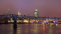 City Lights (Dunc(an)) Tags: city bridge pink blue sky reflection london thames skyline night river lights nightshot millenniumbridge citylights tower42 walkietalkie cityoflondon cheesegrater southwarkbridge londonatnight