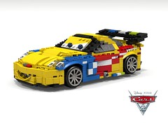 Disney Pixar Cars 2 -  Jeff Gorvette - POVRay (lego911) Tags: