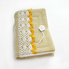 Lace fabric journal (Lariata) Tags: white yellow notebook handmade linen lace diary journal cream craft accessories handmadejournal