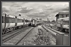 04.07.16 Views of Clapham Junction from Platform 13.. (Tadie88) Tags: nikon18200lens nikond7000 claphamjunction london railways stations tracks trains platforms blackwhite