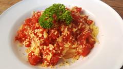 Tomato spaghetti (Roving I) Tags: tomato sauce spaghetti dining parmesan cheese parsley cafes cabanon danang vietnam